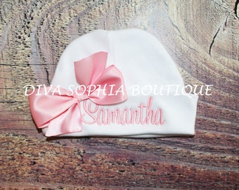 Personalized Baby Hat with Bow -Monogrammed Baby Beanie Hat