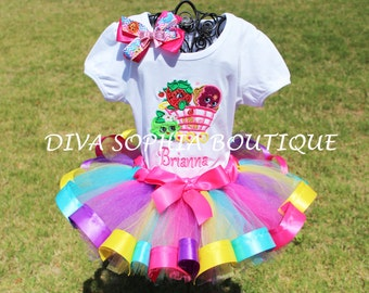 Shopkins Tutu Set - Shopkins Tutut -Birthday Tutu Set- Personaized Shopkins Set