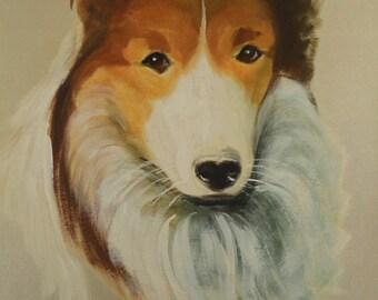 Vintage Oil Painting Dog Portrait Art Original Animal Artwork Mid Century Decor American Sheltie Shetland Sheepdog Listed Artist LaForet