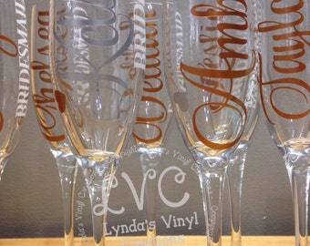 Personalized Name Bridal Party Champagne Glasses