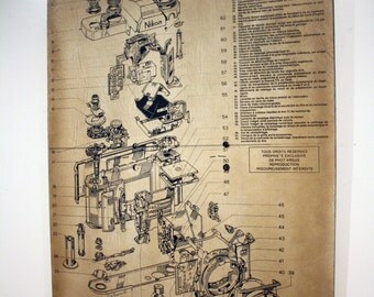 """Camera Schematic Print on Ply 46""""x32"""""""