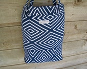 Reusable Grocery Bag - Navy Diamonds