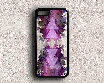 iPhone 5 Case Floral, iPhone 5c Case Flowers, Floral iPhone Case, Fantasy Flowers iPhone 6 Case Purple Galaxy Triangles, iPhone 6 Plus Case