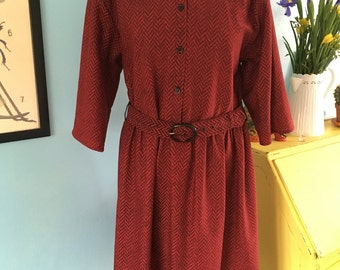 Vintage Collared 80s Day Dress