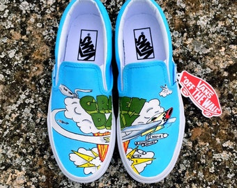 "CUSTOM VANS SHOES • ""Dookie Vans"" • Handpainted Shoes With Fabric Paint"