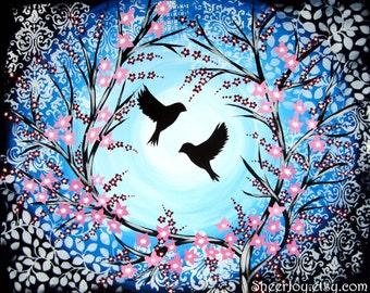 "cherry blossom, birds, bird, blue, tree, trees, canvas art, cherry blossom art, painting, blue painting, blue paintings, blue art, 30"" x 24"""