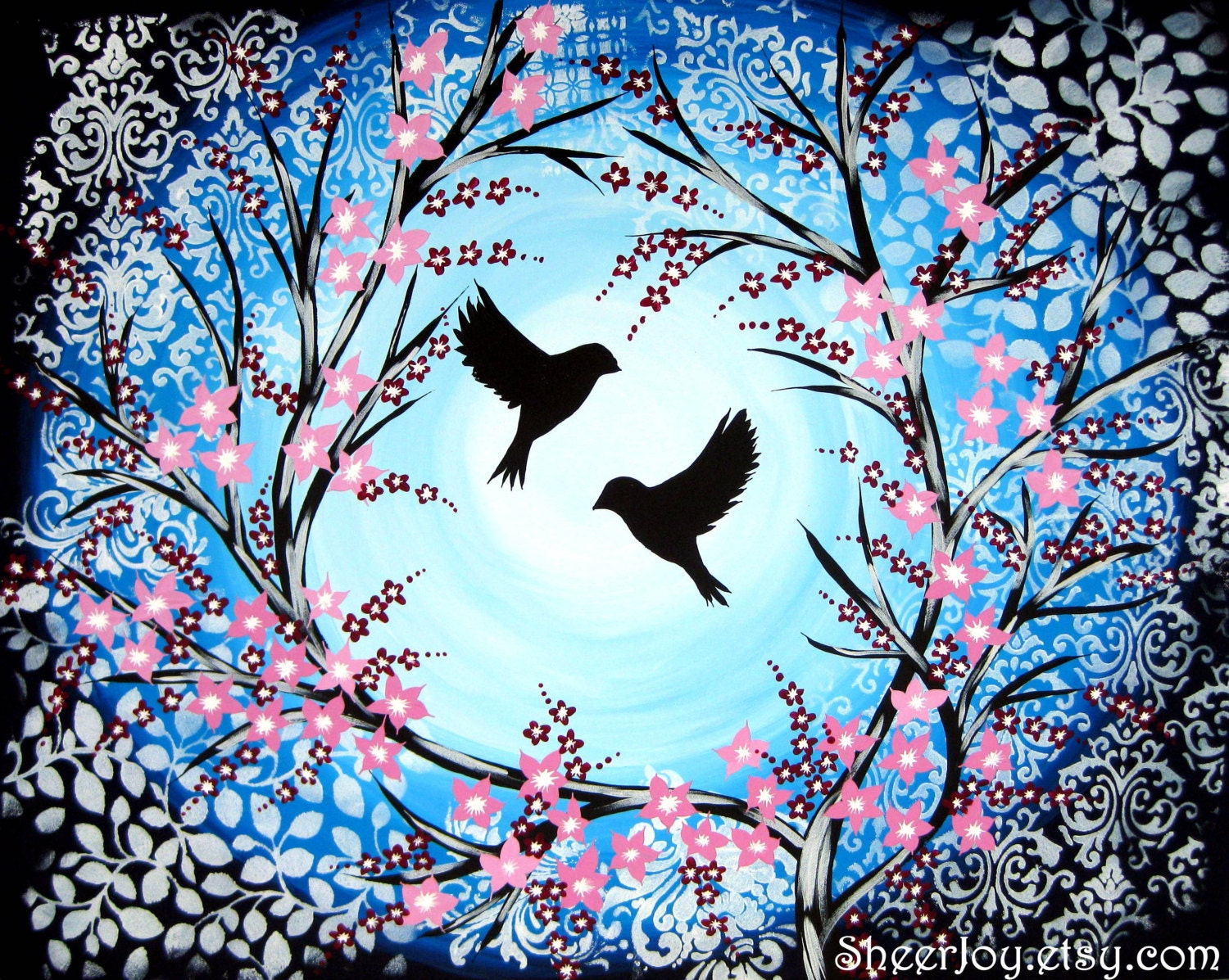 Cherry blossom birds bird blue tree trees canvas art for Simple cherry blossom painting