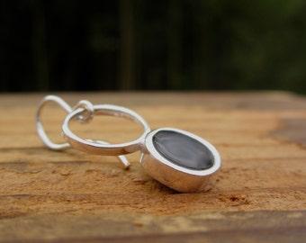 Black Earrings in Vitreous Enamel and Sterling Silver - Open Circle Dangle Earrings