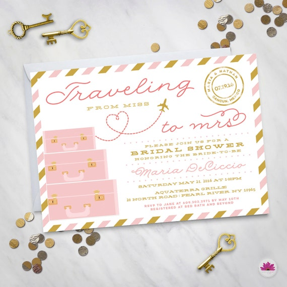 Traveling From Miss To Mrs Bridal Shower Invitation Digital