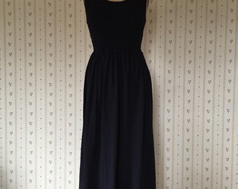 vintage 1990s black maxi dress / scrunched top dress / S