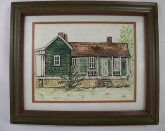 Early American Building Watercolor by C Ray