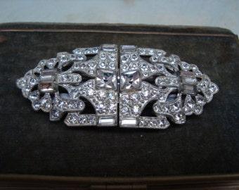 Art Deco Rhinestone Duette Brooch & Shoe Clips