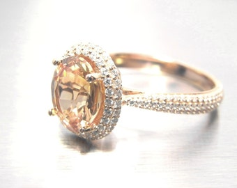 Peach Sapphire circa 2.40 carat  - 14K Rose gold and 0.58 carat Natural Diamond Double Halo Engagement Ring