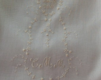 Hand Embroidered Design with Monogram and Date for Christening Slips