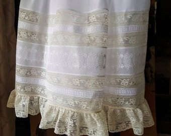 All Lace Yoke Heirloom Dress with Swiss Embroidery Embellished Skirt