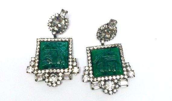 Moans Couture Green Pressed Glass Green Cabochon Vintage Earrings Vogue Magazine Cover