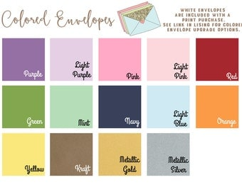 Colored Envelopes - Set of 5 - Add on item for print purchases - Do not purchase if ordering digital files please.
