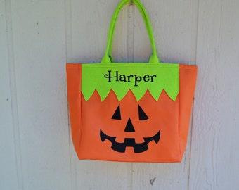 Trick or Treat bag, Halloween bag, Jack O Lantern,  FREE MONOGRAMMING Pre Order