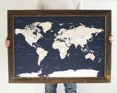 Navy World Map - Reclaimed Wood Push Pin Travel Map - Gift for Husband - Reclaimed Wood Frame 24x36 - Christmas Gifts For Husband