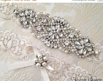 20% OFF Ivory Lace Garter Set, Wedding Garter Set, Bridal garter Set, Rhinestone Garter, Lace Wedding Garter