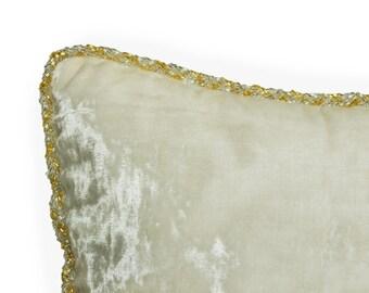 Ivory Velvet Throw Pillow Cover -Gold Silver Beads Cording Pillow -Luxe Pillow -Wedding Decor -Wedding Gift -Hand Beaded Soft Velvet Cushion