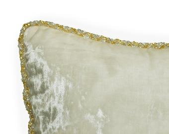 ivory velvet throw pillow cover gold silver beads cording pillow luxe pillow wedding