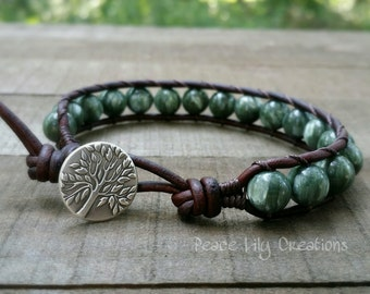 Russian seraphinite leather wrap bracelet single wrap earthy bracelet fine silver tree of life stacking bracelet