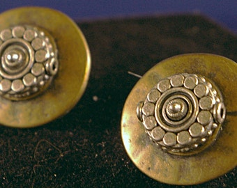 Silver with Brass Button Post Earrings