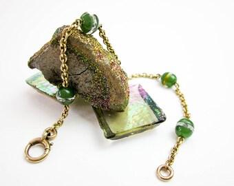 Art Deco 20s Bracelet 9K Gold, Chrysoprase Cabs & Swarovski Faceted Crystal Rondelles, UK 1920s.