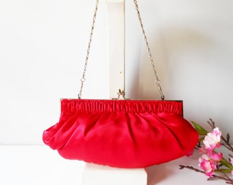 Red Clutch Bag, Red Evening Bag, Vintage Red Purse, Vintage Evening Bag, Red Handbag, Vintage Clutch Bag, Glamorous Purse, EB-0059