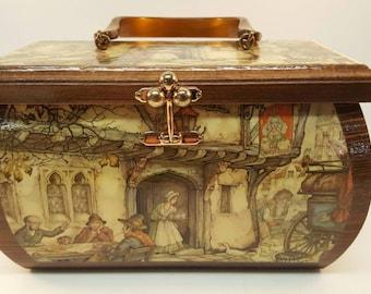 Decopage Wood Box Purse Vintage Anton Pieck Bakelite Handle English Scene