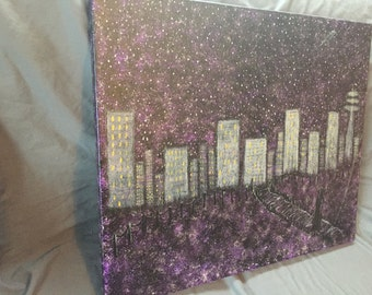 items similar to abstract cityscape painting original on