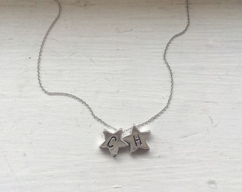 Gold star necklace, star charm necklace, star bead conncetor