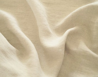Linen fabric - natural, unbleached, pure linen, prewashed and soft - 1 yard
