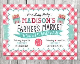 Farmers Market Invitation - Garden Birthday Invite - Freshly Picked Strawberry Invite - Girls Birthday - 5x7 JPG (Front and Back Design)