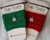 Christmas Coffee Cup Cozy, Winter Cup Cozy, Snowflake Cup Cozy, Christmas Gift, Holiday Gift