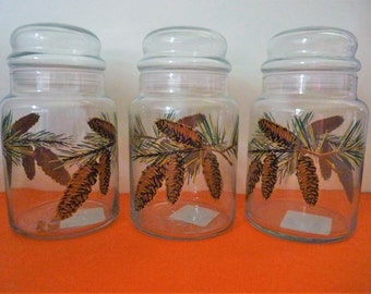 Glass Storage Jar/Cannister with Lid - Libbey - Three - vintage, new & unused, offered by MtnGlen