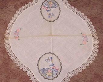 Vintage Embroidered Needlework Oval Doilie Southern Belle