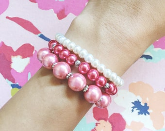 Beaded Pearl Bracelets, Set of 3 -  Bridesmaid Jewelry, Hot Pink, Pastel Pink, White, Faux Pearls, Arm Candy, Stretchy Bracelets, Stackable