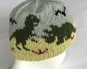 Dinosaurs Stocking Cap, Winter Hat, Beanie Dinos Winter Hat, Hand Knit