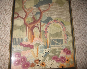"GARDEN GATE Wool Embroidery In Original 1920's Antique Frame 10 1/2"" x 13 1/4"" Blue Inside Border On Frame"