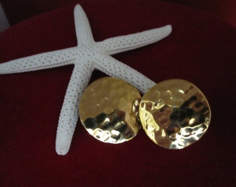 HAMMERED GOLDTONE BUTTON Pierced Earrings
