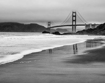San Francisco Photography -  Golden Gate Bridge, San Fran, Baker Beach, California, Golden Gate Photo Print, Black & White - 8x12 photo