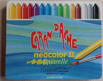New 15 Caran D' Ache Neocolor II sticks Water soluble Painting Crayons Yellow, Blues, Greens, Red, Black, Purple, White, etc Swiss Made
