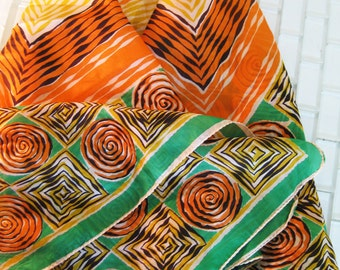 Boho Green Orange Abstract Silk Scarf USA - Large Square Scarf - Tribal