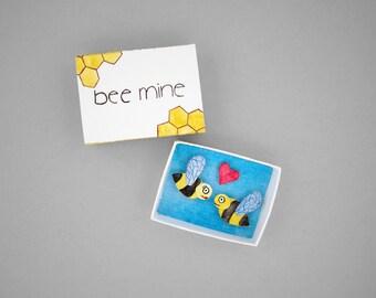 Bee mine, matchbox art, paper diorama, girlfriend gift, boyfriend gift, miniature art, valentines day gift, cute anniversary gift under 15
