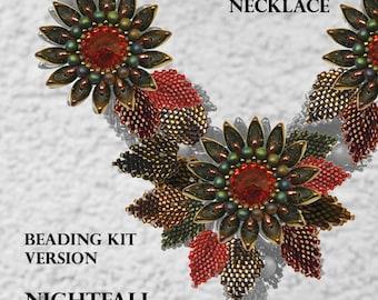 Kanzashi Flower Necklace - Beading KIT - version Nightfall