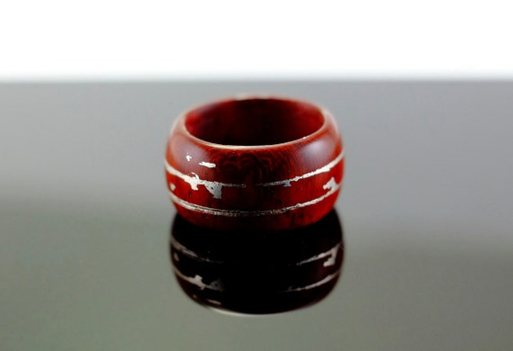 Padouk and silver wooden ring
