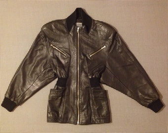 1990's, gathered, knit waist, three quarter, black, leather jacket, by Michael Hoban for North Beach, Women's size 5/6