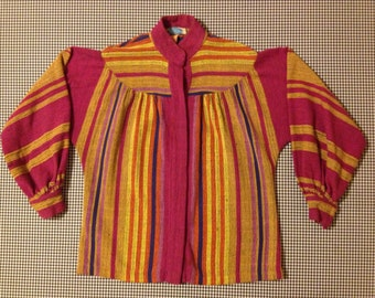1960's, snap front, woven shirt, with balloon sleeves and stub collar, in striped, cotton, weave, by Rikma of Israel, Women's size Small